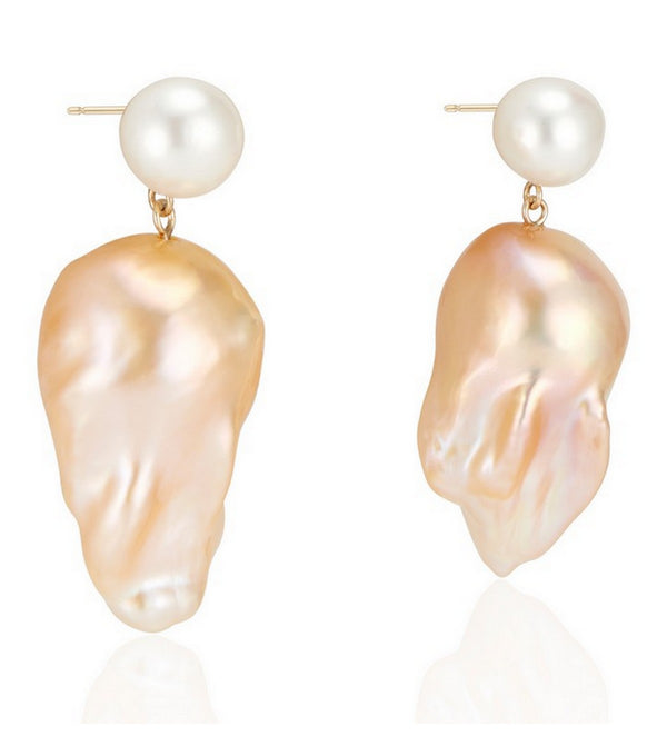 White Round Pearl with Natural Golden Baroque Pearl Drop Earrings
