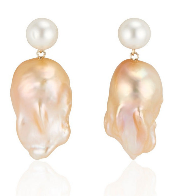 Double Bubble Golden Baroque Pearl Earrings - Thomas Laine Jewelry