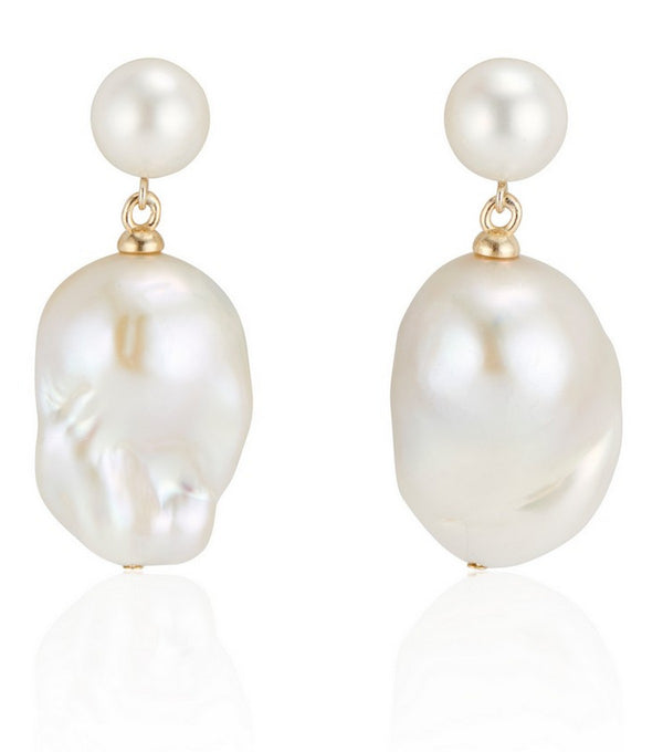 Double Bubble White Baroque Pearl Earrings - Thomas Laine Jewelry