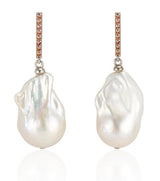 14K Vertical Gold Bar with Sapphires and Baroque Pearl Drop Earrings