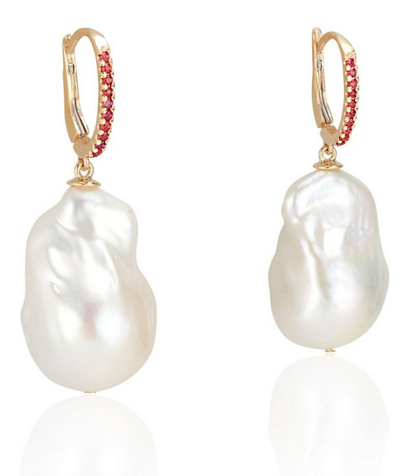 14K Gold Baroque Pearl and Flame Orange Sapphire Earrings - Thomas Laine Jewelry