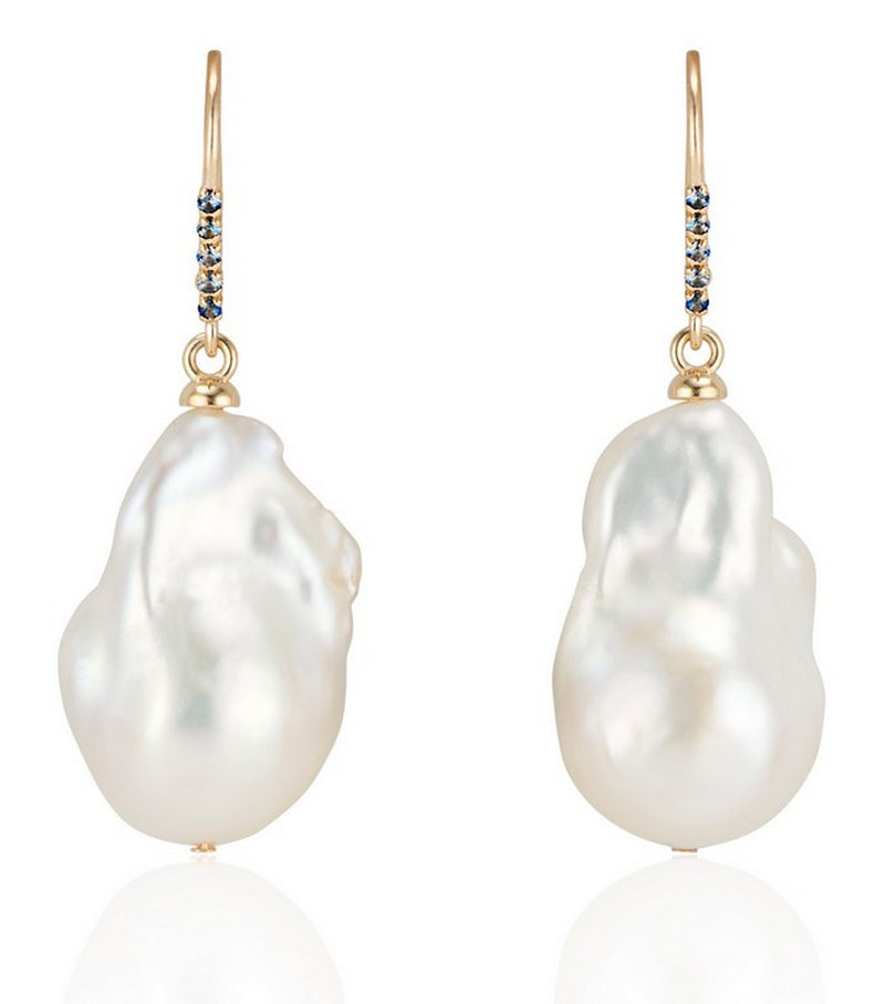14K Gold Baroque Pearl and Blue Sapphire Earrings