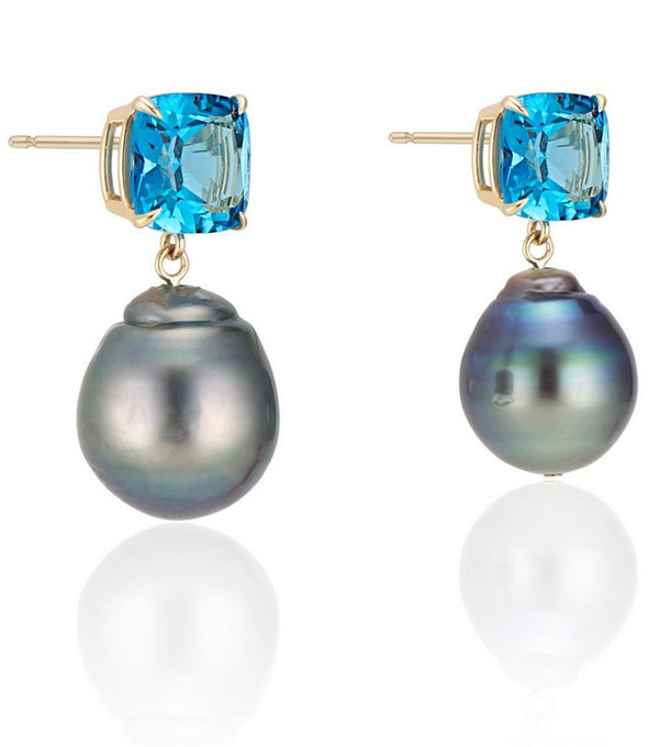 London Blue Topaz Cushion Cut with Green Baroque Pearl Drop Earrings