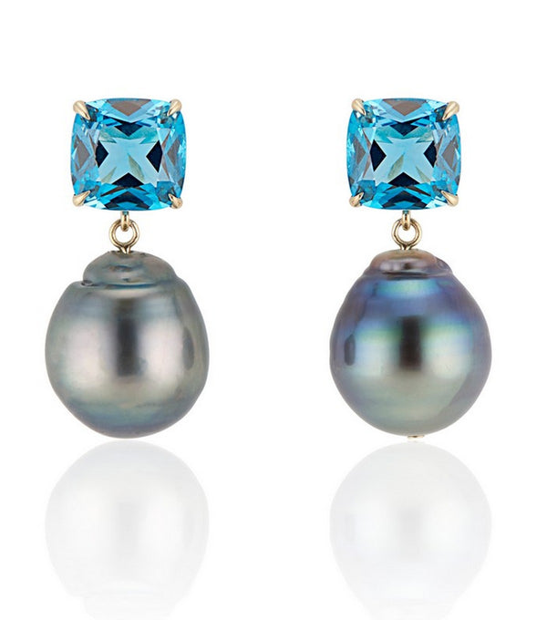 London Blue Topaz Green Baroque Pearl Earrings - Thomas Laine Jewelry