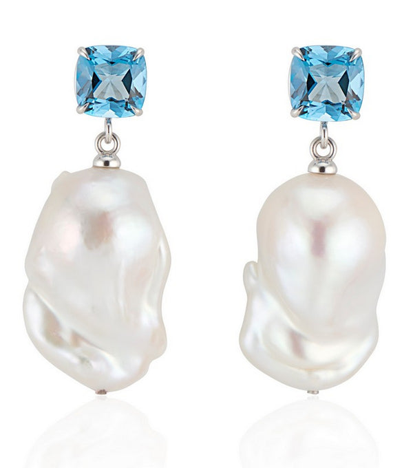 London Blue Topaz Baroque Pearl Earrings - Thomas Laine Jewelry