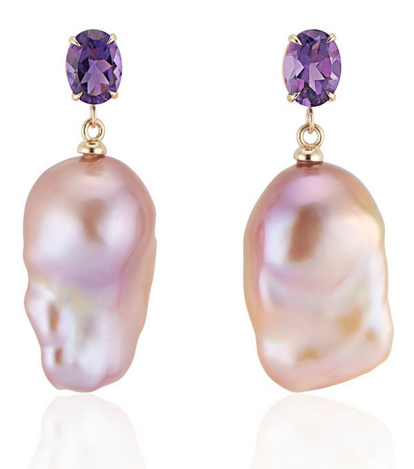 Amethyst Natural Pink Baroque Pearl Earrings