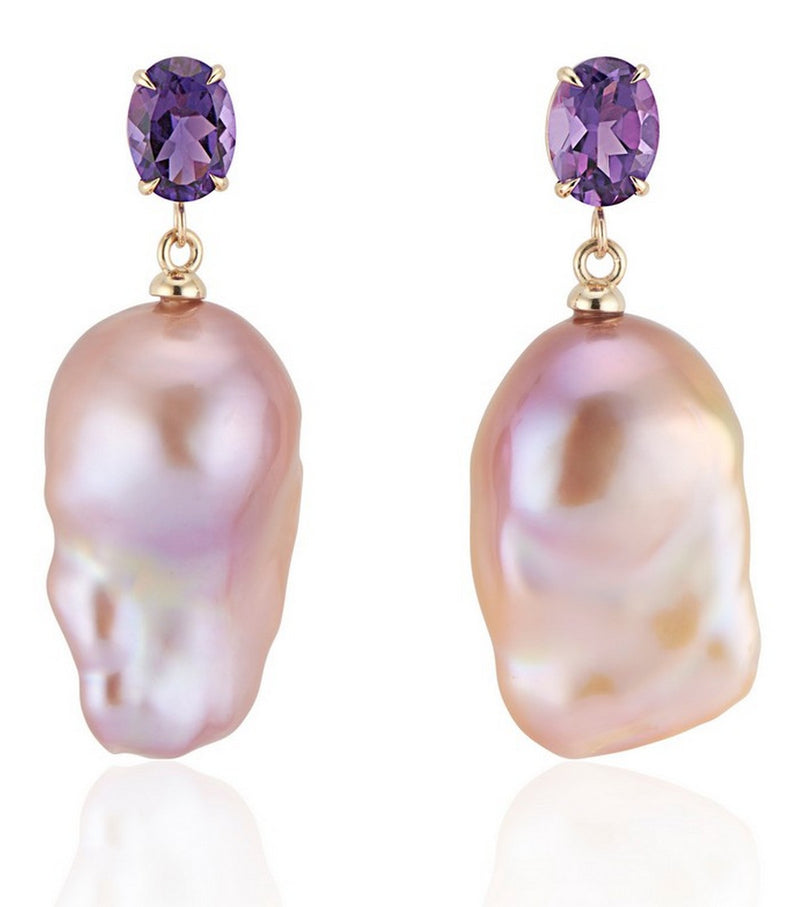 Amethyst Natural Pink Baroque Pearl Earrings - Thomas Laine Jewelry