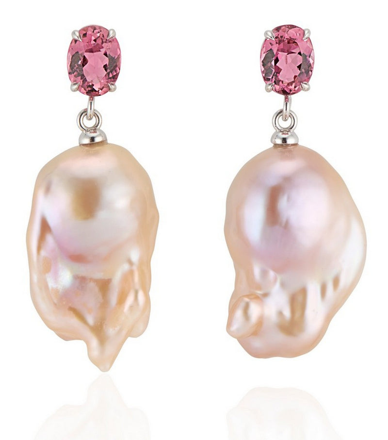 Pink Tourmaline with Natural Pink Baroque Pearl Earrings