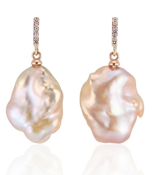 Rose Gold Vertical Diamond Bar with Flat Baroque pearl earrings