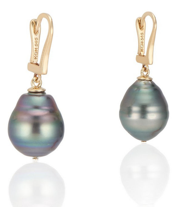 14K Yelllow Gold Lever Back Peacock Green Baroque Pearl Earrings - Thomas Laine Jewelry