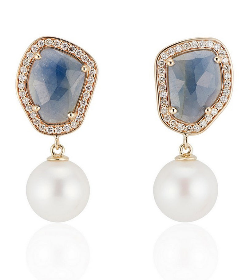 Blue Sapphire and Pearl Drop Earrings