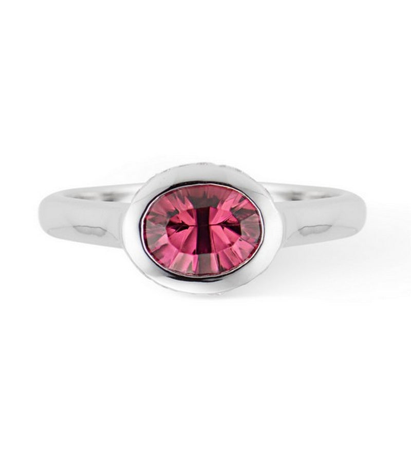Pink Tourmaline Oval Horizontal Diamond Bezel Set Ring