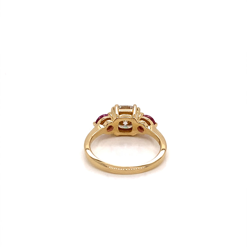 Three Stone Engagement Ring 14K Yellow Gold Cushion Cut Moissanite and Pink Sapphire Ring - Thomas Laine Jewelry