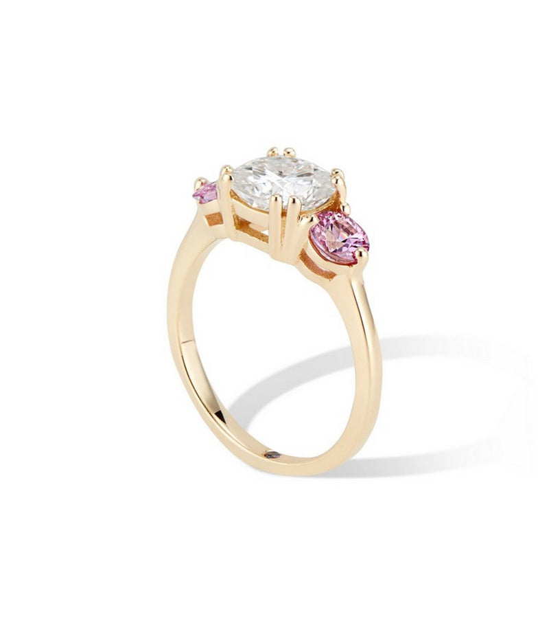Three Stone Moissanite and Pink Sapphire Engagement Ring