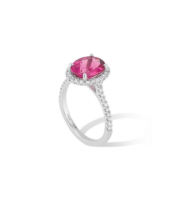 14K White Gold  Oval Pink Tourmaline Diamond Halo Ring - Cocktail Ring