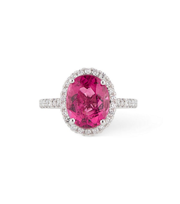 14.K White Gold Oval Pink Tourmaline with Diamond Halo Ring  $3295