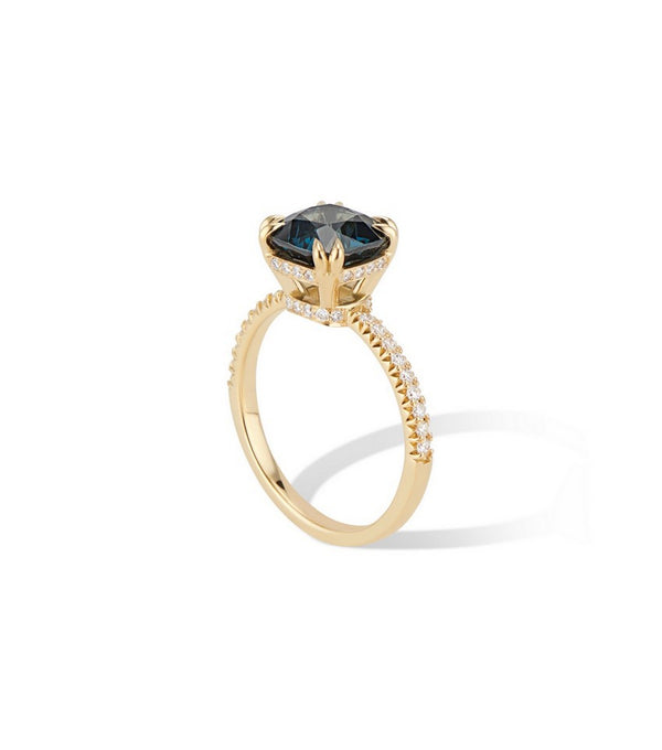 Alternative Engagement Ring 18K Yellow Gold Peacock Blue Spinel and Diamond Engagement Ring, Skinny Diamond Band, Double Claws, Hidden Diamond Halo $3895
