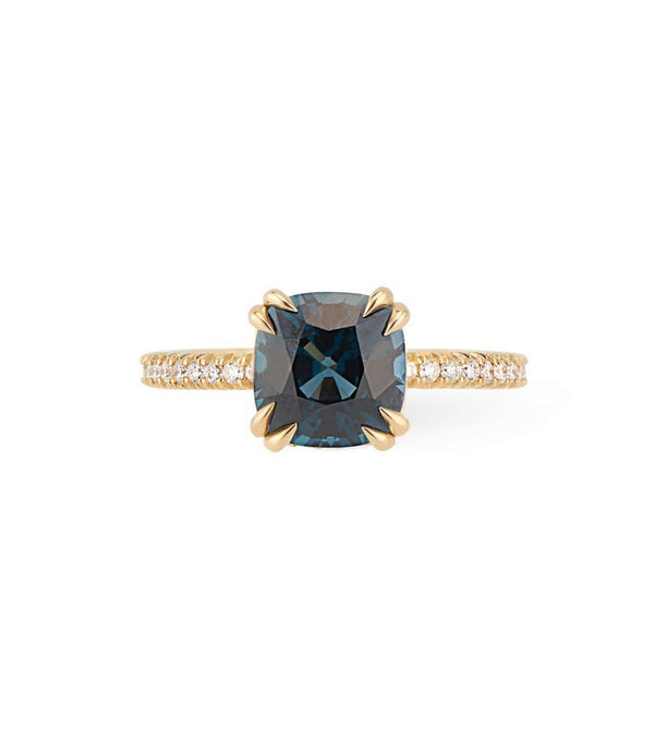 18K Yellow Gold Peacock Blue Spinel and Diamond Engagement Ring, Skinny Diamond Band, Double Claws, Hidden Diamond Halo