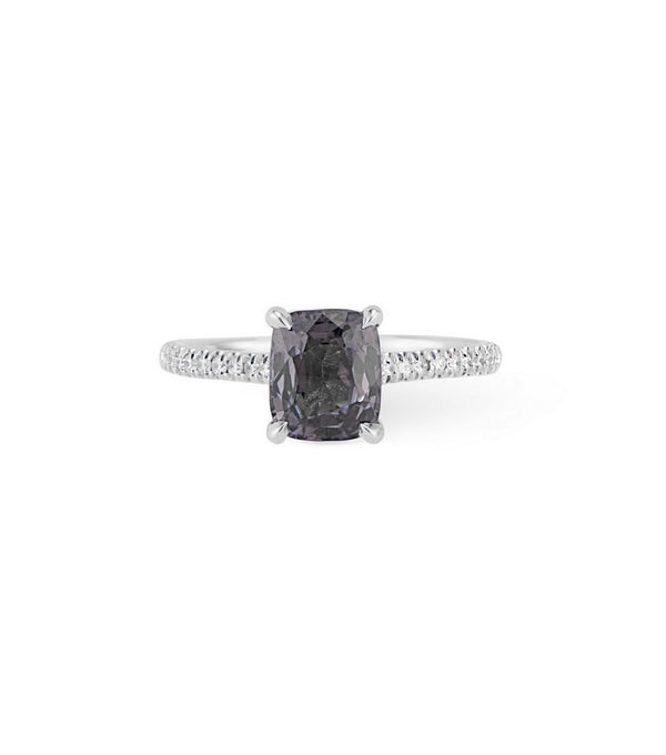 14K white gold cushion cut Smokey grey spinel ring with diamond hidden halo and diamond accented band.