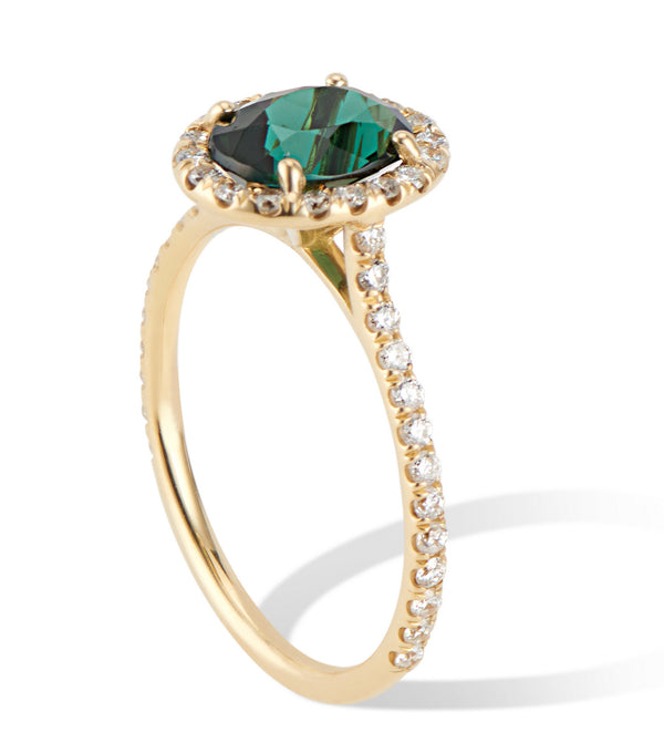 18K Yellow Gold Green Tourmaline Ring with Diamond Halo - Thomas Laine Jewelry
