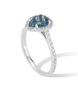 18K White Gold Diamond Halo Teardrop Montana Sapphire Ring - Thomas Laine Jewelry