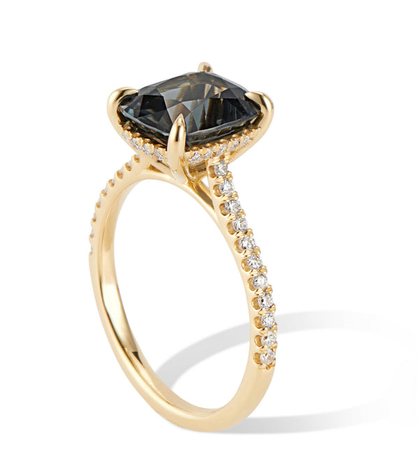 18K Yellow Gold Diamond 3ct Smoky Teal Spinel Ring - Thomas Laine Jewelry