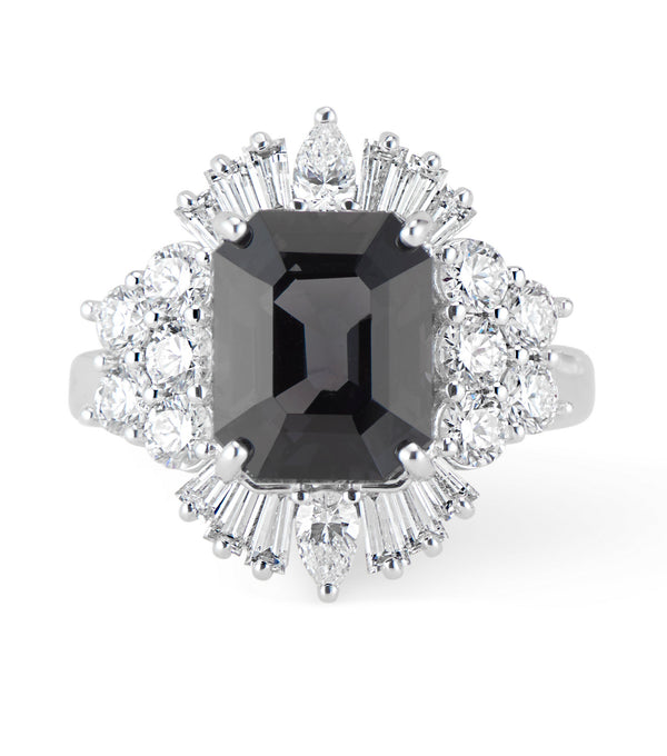 18k LOLA Deco Inspired Black Spinel and Diamond Ring - Thomas Laine Jewelry