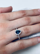 18K White Gold Diamond Halo Teardrop Montana Sapphire Ring - on model