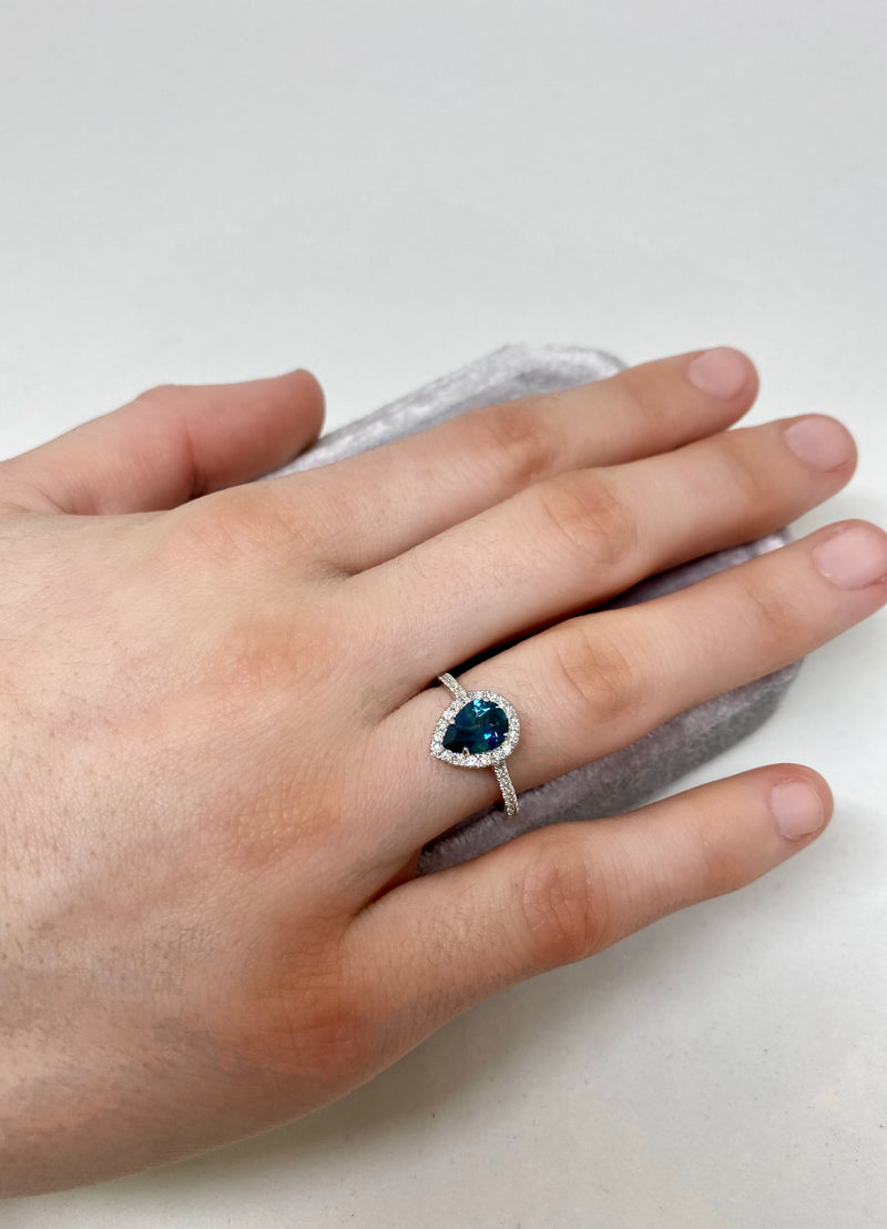 Teal Blue Montana Sapphire - Pear Shaped -Alternative Engagement Ring
