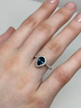 Teal Blue Montana Sapphire - Pear Shaped - Diamond Halo-Alternative Engagement Ring