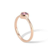 Gold Heart Ring with Rhodolite Garnet