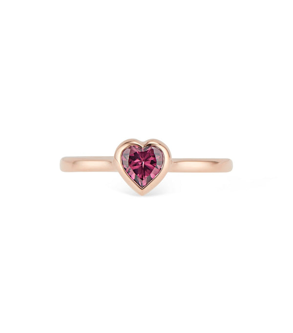 Gold Heart Ring with Rhodolite Garnet - Thomas Laine Jewelry