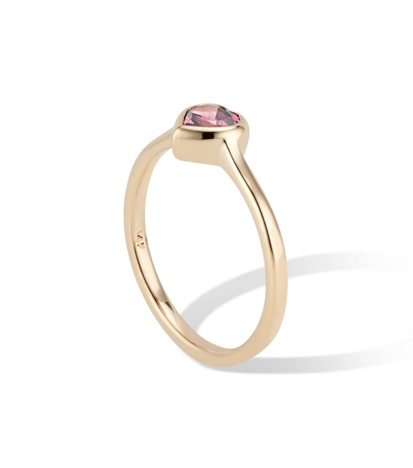 14k Gold  Heart Ring with Rhodolite Garnet