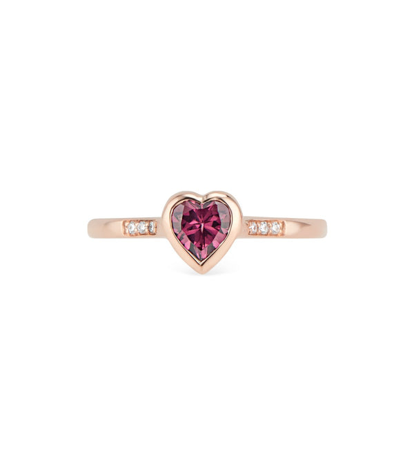 Rose Gold Diamond and Rhodolite Heart Ring