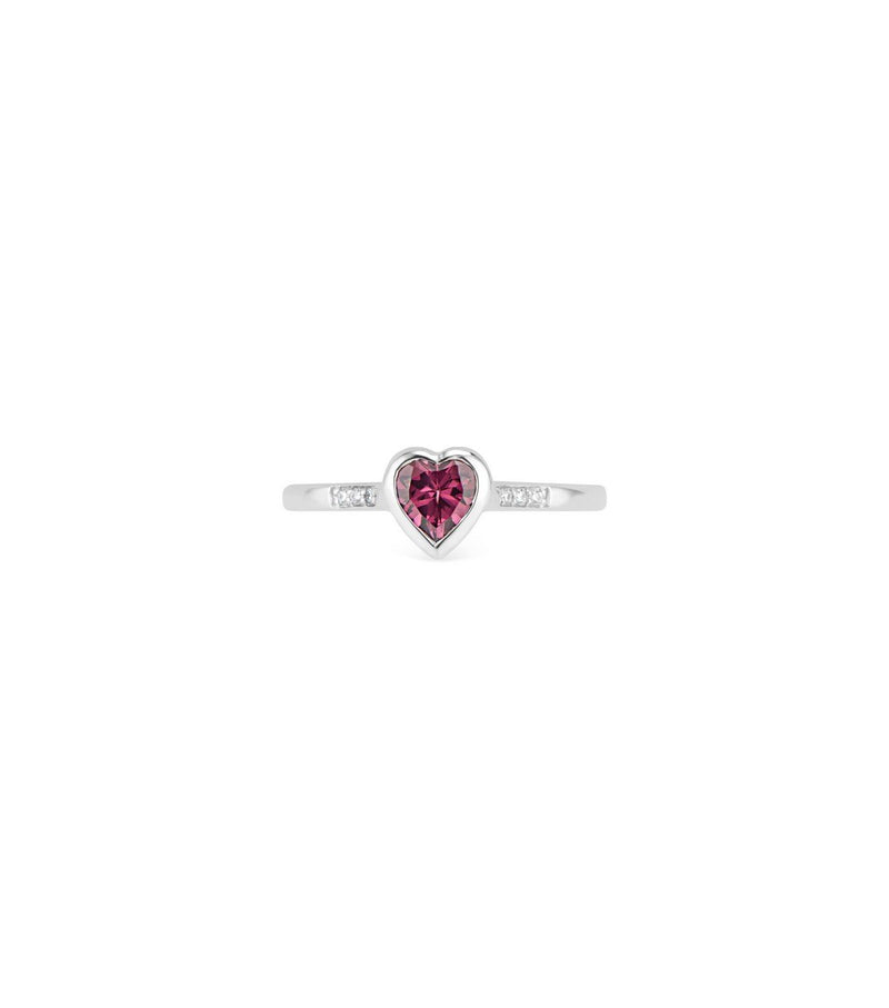 Gold Heart Ring with Diamond & Rhodolite Garnet