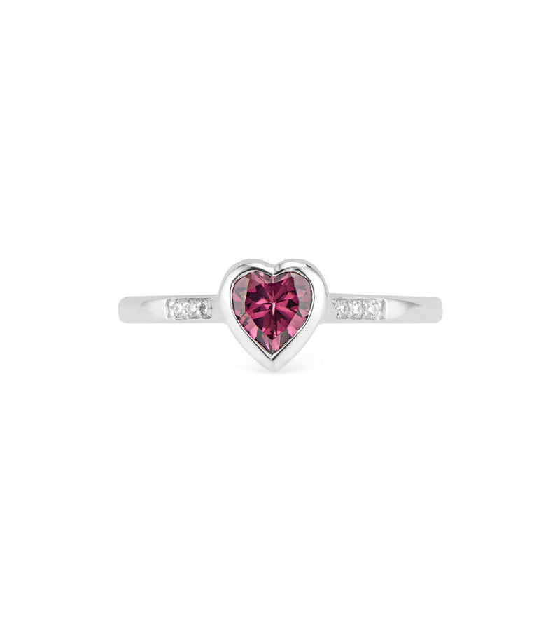 Promise Ring Gold Diamond and Rhodolite Heart Ring