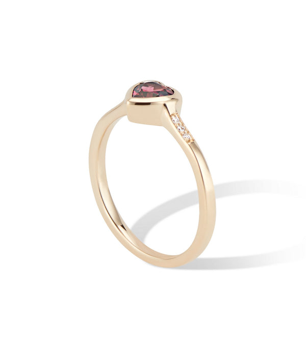 Yellow Gold Diamond and Rhodolite Heart Ring