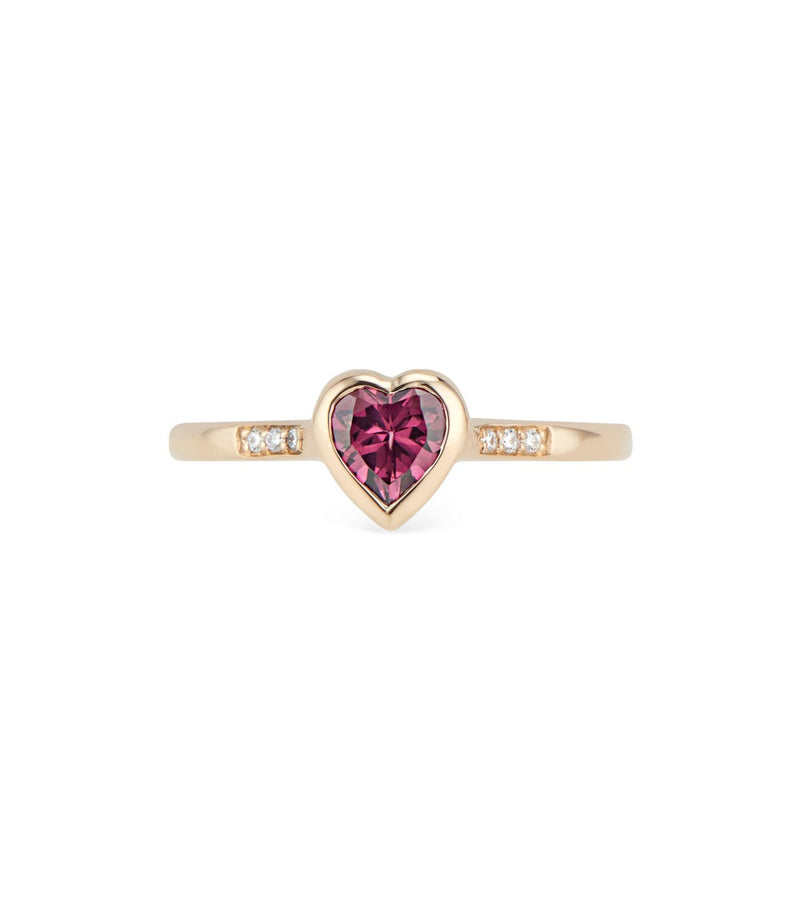 heart Ring with diamonds and garnet