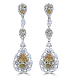 SALE -Duchess Canary Color Drop Earrings- Sterling Silver and CZ