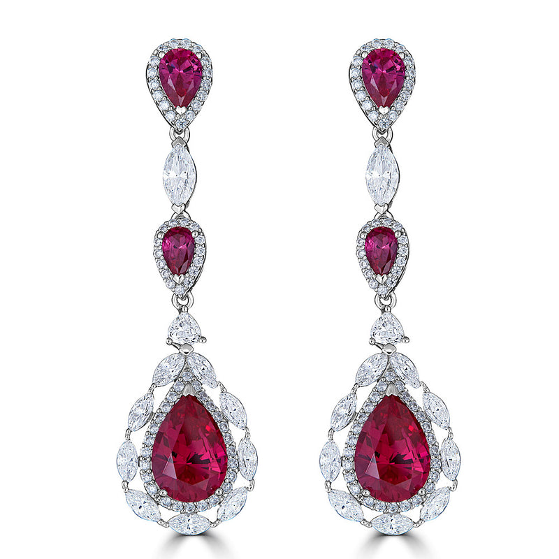 Rubelite Red Color CZ Drop Earrings on SALE