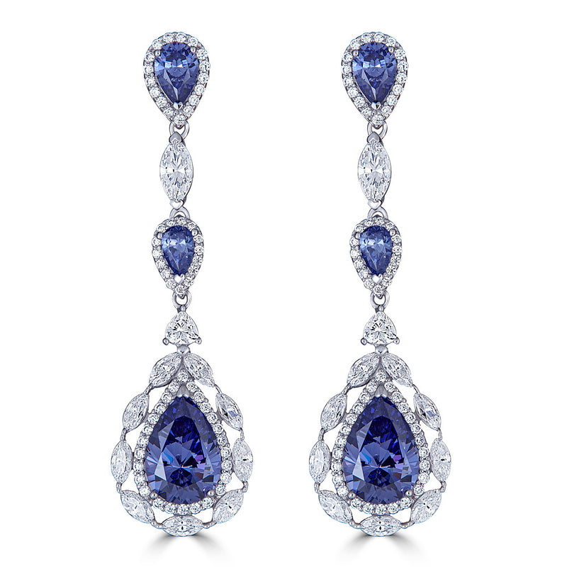 Tanzanite Color CZ Drop Earrings - ON SALE