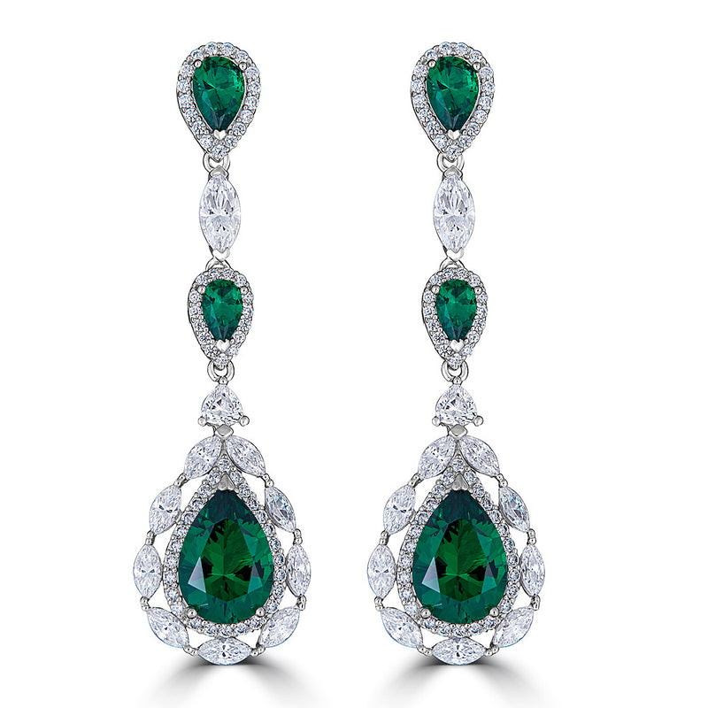 CZ Emerald  Green Color Drop  Silver Earrings - On Sale