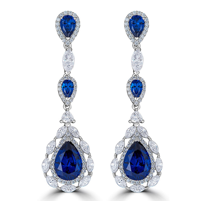 Sterling Silver Sapphire Blue Color CZ Drop Earrings on Sale