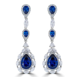 Sapphire Color  CZ  Drop Earrings -Jewelry Sale