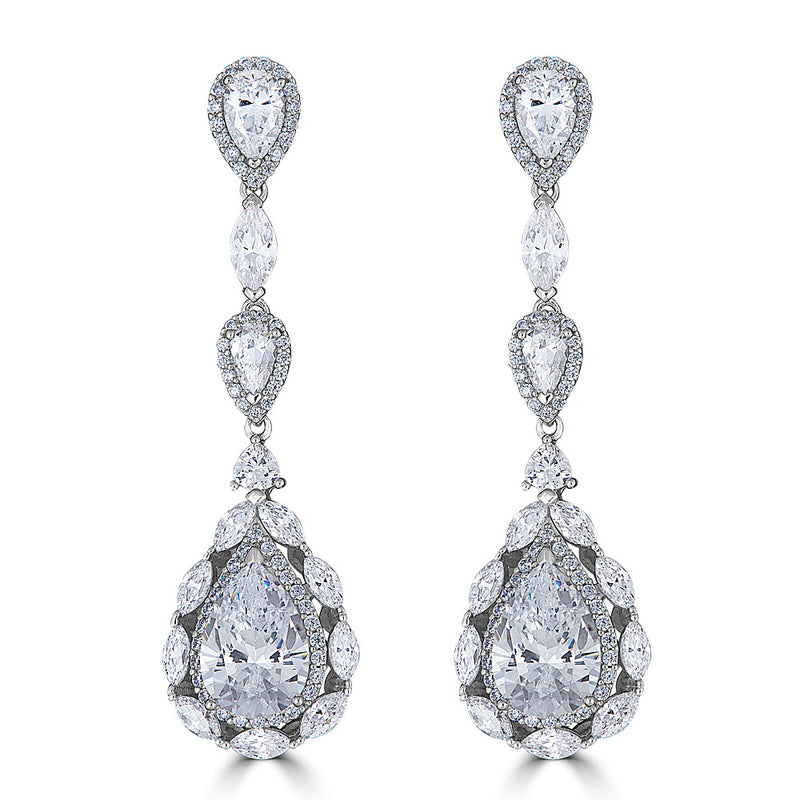 Duchess Luxury Drop Earrings - Sterling Silver and Cubic Zirconia