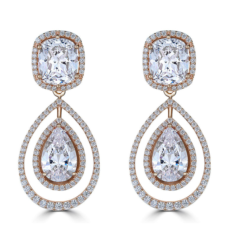 Hollywood Halo Cushion and Teardrop Earrings