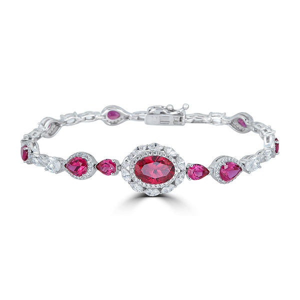 Jewelry Sale  Rubelite  Red Halo CZ  Bracelet