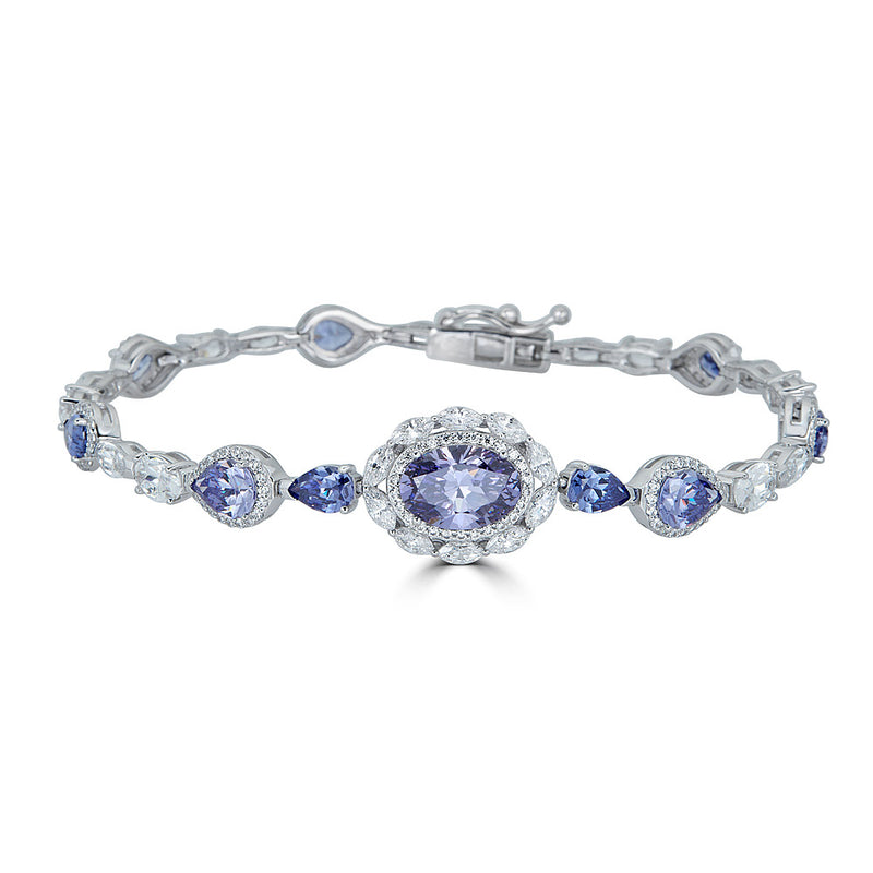 Jewelry Sale Tanzanite Halo CZ Bracelet