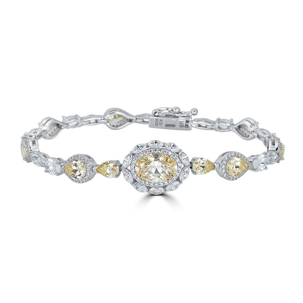 Sterling Silver Canary Yellow Halo Cubic Zirconia Bracelet