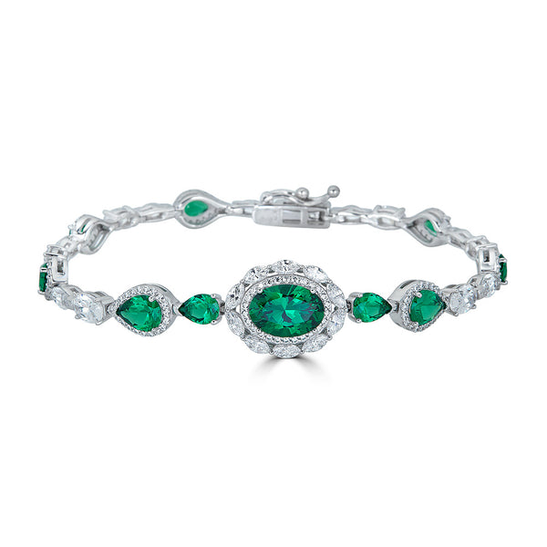 Jewelry Sale Duchess Emerald Halo CZ Bracelet